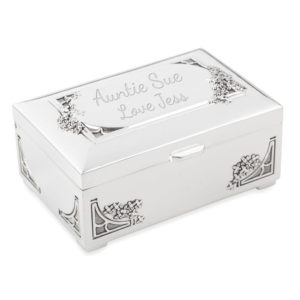 trinket jewellery box antique finish 01 1 300x300 - Silver Plated Rectangular Trinket/Jewellery Box Decorative Border Design
