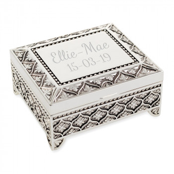 Beautiful Square Floral Style Trinket/Jewellery Box With Floral Pattern