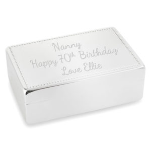trinket jewellery box plain design 02 1 300x300 - Silver Plated Rectangular Trinket/Jewellery Box Plain Design With Beaded Detail