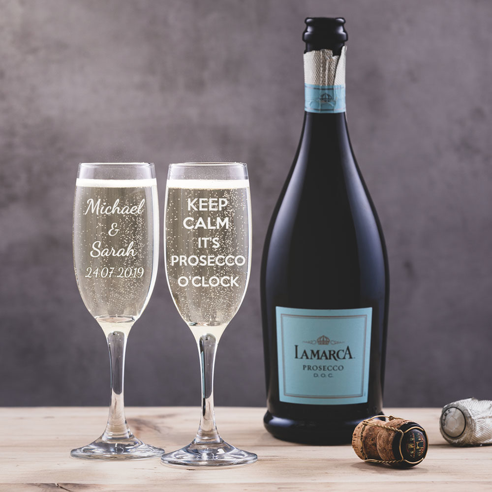 Personalised Engraved Prosecco Glasses
