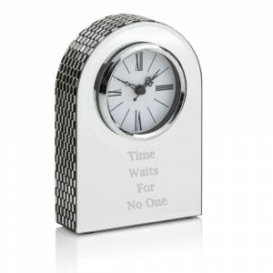 mirror arch clock 01 text 300x300 - Mirrored Arch Glass Mantel Clock