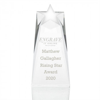 glass shooting star award trophy with logo