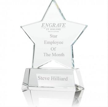 Glass star trophy with logo