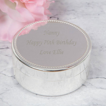personalised Silver plated round trinket box