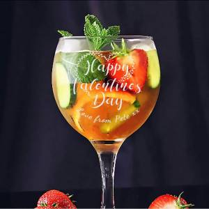 Happy Valentines Gin Glass