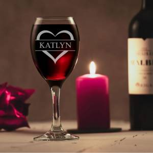 Heart And Name Personalised Wine Glass
