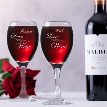 Personalised Love you more than wine glass gift set