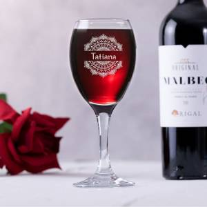 Mandala and Name Personalised Wine Glass