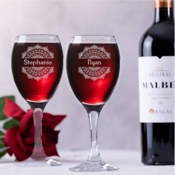 Mandala and Name Personalised Wine Glass Gift Set
