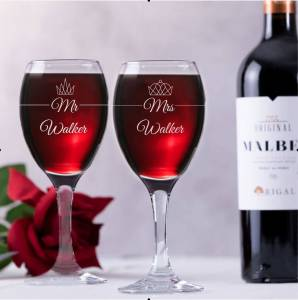 Mr Mrs Crown Wine product1 298x300 - Mr & Mrs Wine Glass Gift Set With Crowns