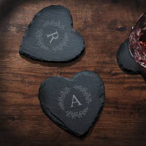 Slate Heart Coasters with initials and wreath design