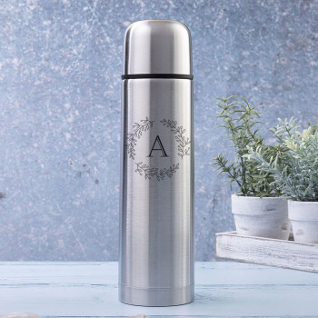 Brushed Steel Insulated Vacuum Flask with Initial and Olive Leaf Design