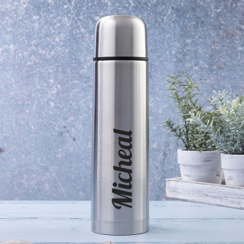Brushed Steel Insulated Vacuum Flask with Name