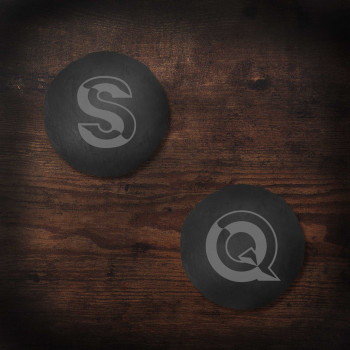 Round Slate Coasters with Geometric Initial design