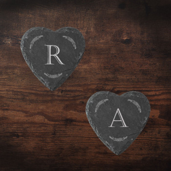 Heart Slate Coasters with Initial and Border design