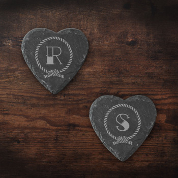Heart Slate Coasters with Nautical Rope and Initial design