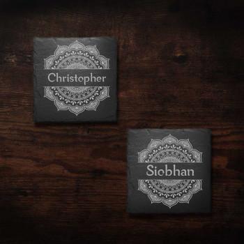 Square Slate Coasters with Mandala design