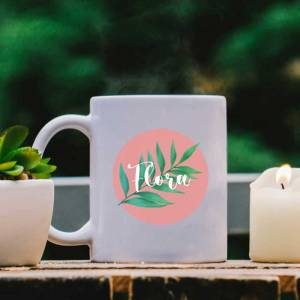 White Mug with Leaf, Pink Pastel and Name design