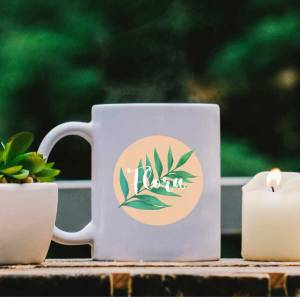 White Mug with Leaf, Peach Pastel and Name design