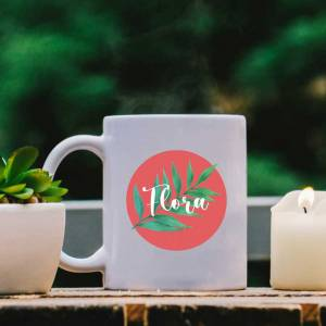 White Mug with Leaf, Red Pastel and Name design
