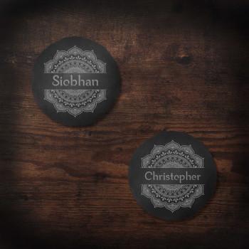 Round Slate Coasters with Name and Mandala design