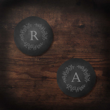 Round Slate Coasters with Olive Leaf design and Initial