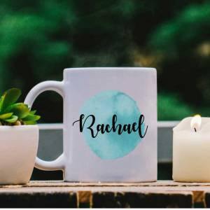 White Mug with Aqua Water Colour Effect and Name design