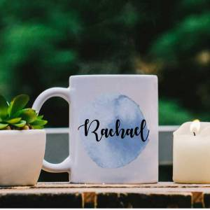 White Mug with Blue Water Colour Effect and Name design