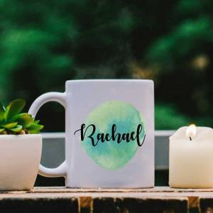 White Mug with Green Water Colour Effect and Name design
