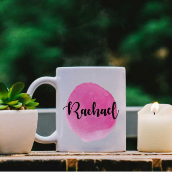 White Mug with Magenta Water Colour Effect and Name design