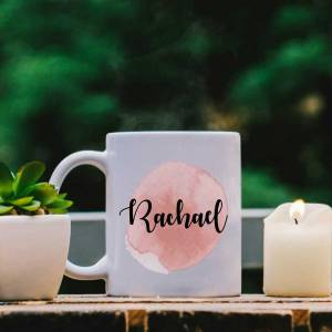 White Mug with Pink Water Colour Effect and Name design