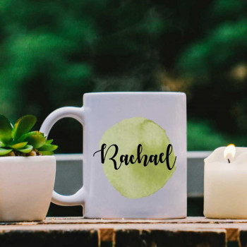 White Mug with Pea Green Water Colour Effect and Name design