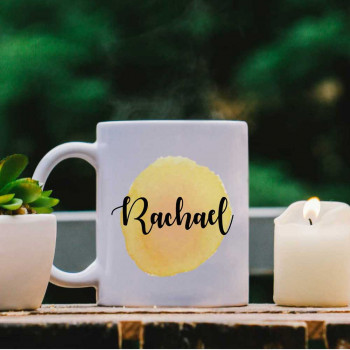 White Mug with Yellow Water Colour Effect and Name design