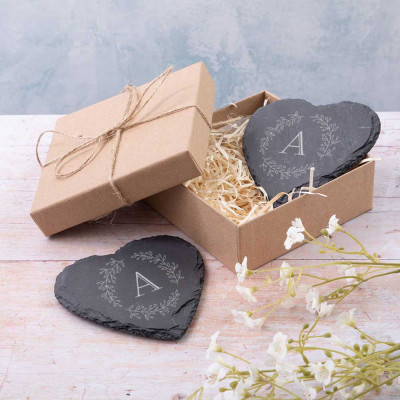 LS38 03 Slate heart coaster pair 1000with olive leaf 400x400 - Slate Heart Coasters with Olive Leaf and Initial design