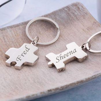 Linking Puzzle Keyring Pair