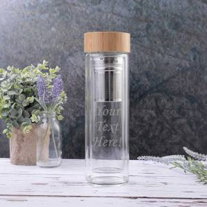 Personalised Glass Tea/Fruit Flask with Bamboo Lid and Strainer - Engraved with Your Custom Text