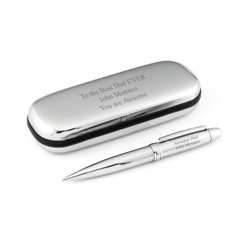 Best Dad Silver Pen and Chrome Case