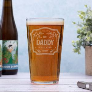 Lifestyle Conique Beer Glass with Best Daddy Logo
