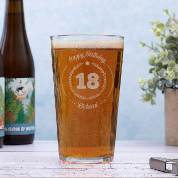 Personalised Conique Beer Glass with Round Birthday Design