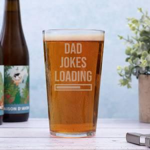 Conique Beer Glass with Dad Jokes design