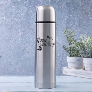 Dad's Gone Fishing 500ml Brushed Steel Flask