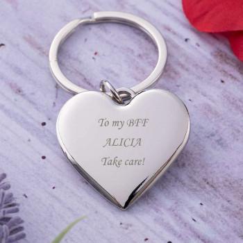 Silver Heart Shaped Keyring