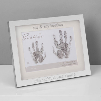 Personalised Me and My Sister Hand Print Frame With Ink Pad