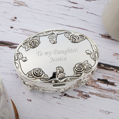 Personalised Oval Silver plated Antique Rose Trinket Box