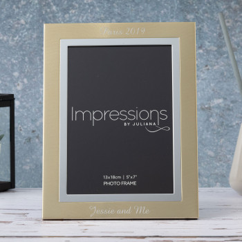 "Gold & Silver Aluminium 5"" x 7"" Photo Frame Impressions"