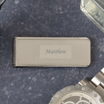 Personalised MC9 Silver with Pattern Money Clip