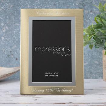 """Personalised Gold & Silver Aluminium 4"""" x 6"""" Photo Frame (Brushed Steel Finish)"""