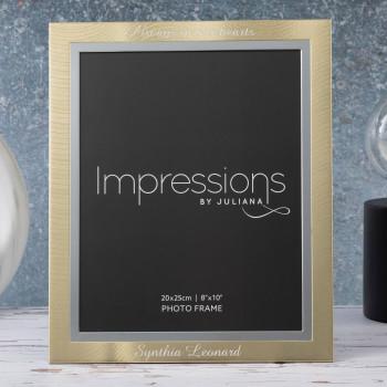 """Personalised Gold & Silver Aluminium 8"""" x 10"""" Photo Frame (Brushed Steel Finish)"""