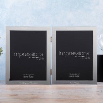 "Personalised Matt/Shiny Silver 6"" x 8"" Double Photo Frame"
