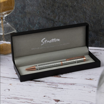 Personalised Silver and Rose Pen - Stratton with Box
